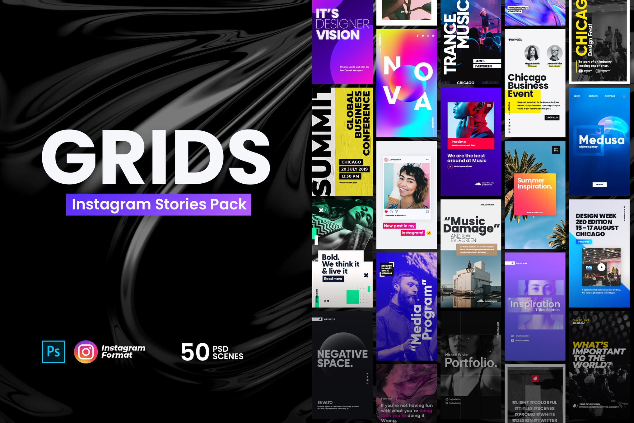 50 Instagram Stories Pack PSD Templates suitable for all social media promotions with FULL rights