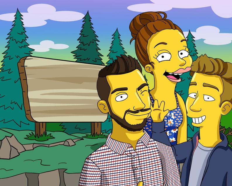 Simpsons Custom character,  Simpsons Portrait,  Cartoon Portrait,  Couple portrait - Turned Yellow Simp