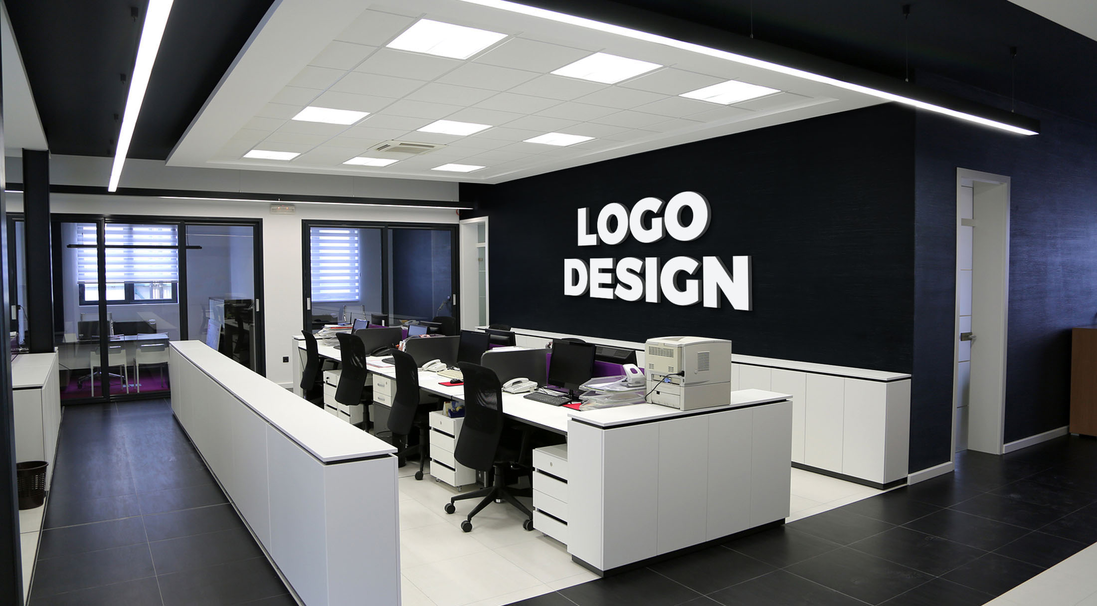 mockup your logo or artwork on 8 office interiors