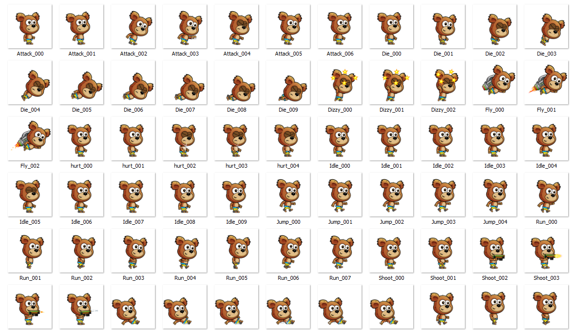 Bear 2D Game Characte Sprites for games