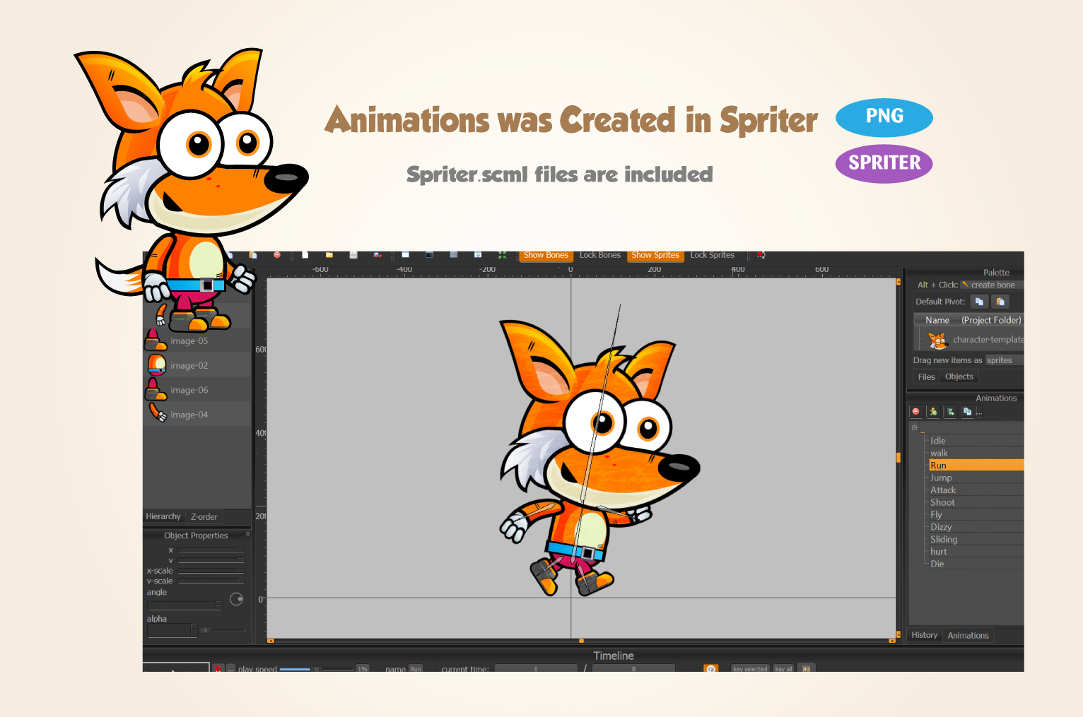 Fox 2D Game Character Sprites 187