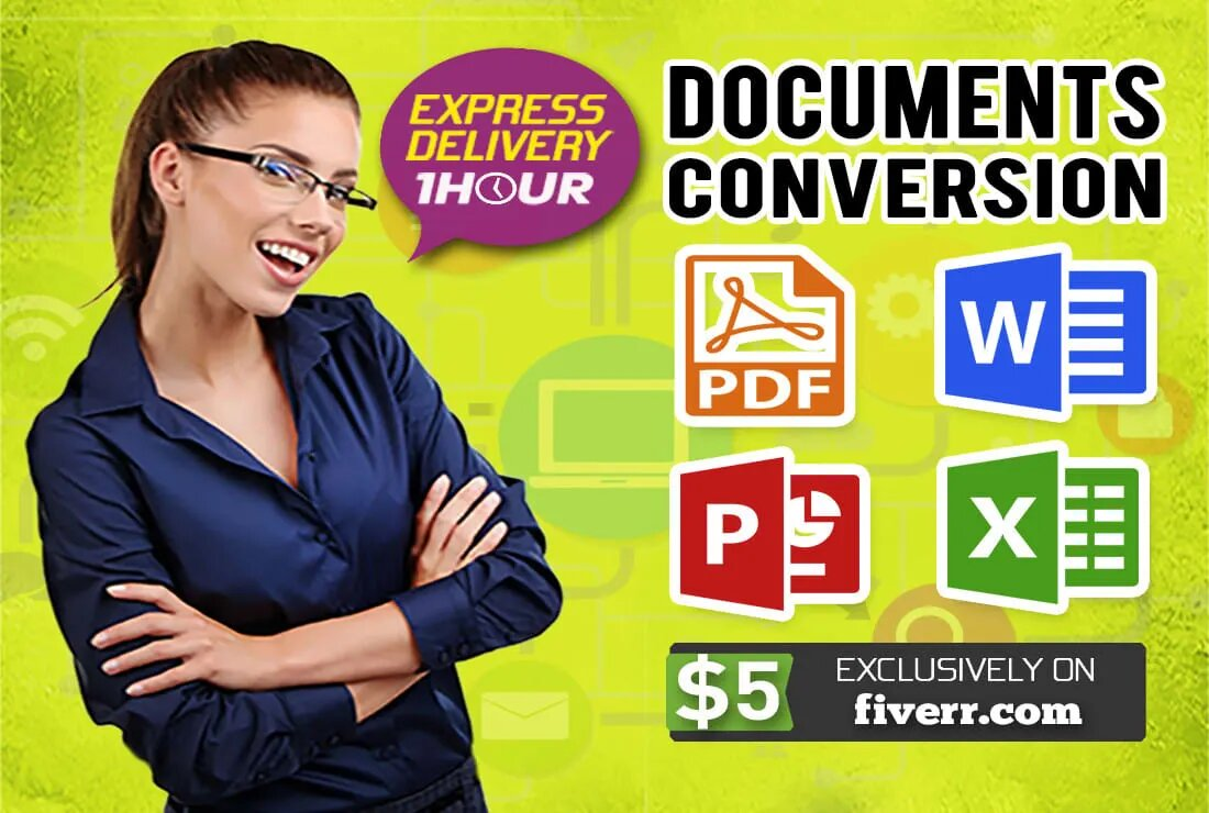 I will convert, pdf to word file, word to pdf file, jpg to png file