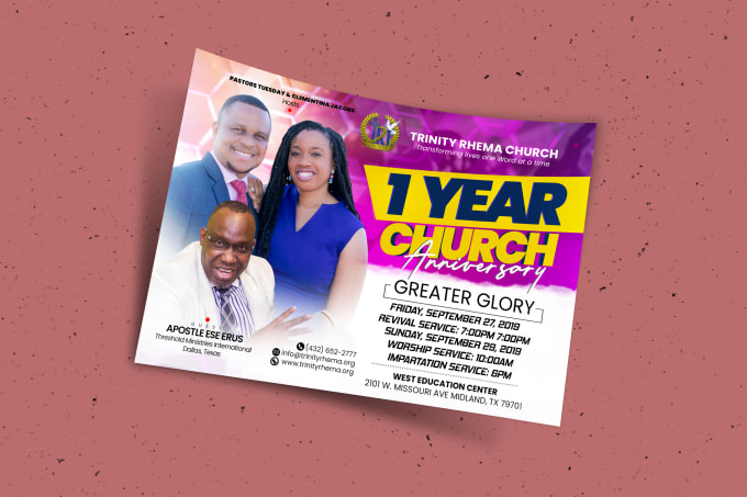 I will do a creative church event flyer in 12hours