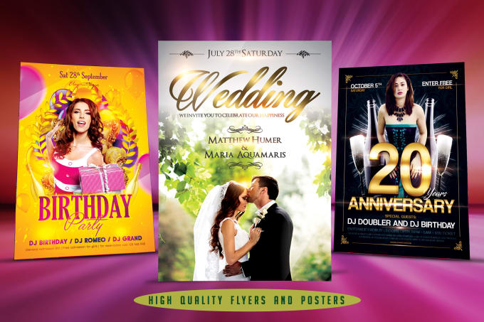 I will design superb birthday and wedding party flyers