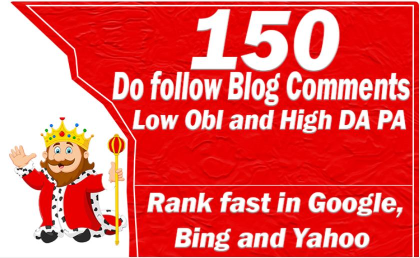 150 Unique Domains Blog Commenting Dofollow Backlinks High DA PA google Rank Website Traffic Low Obl