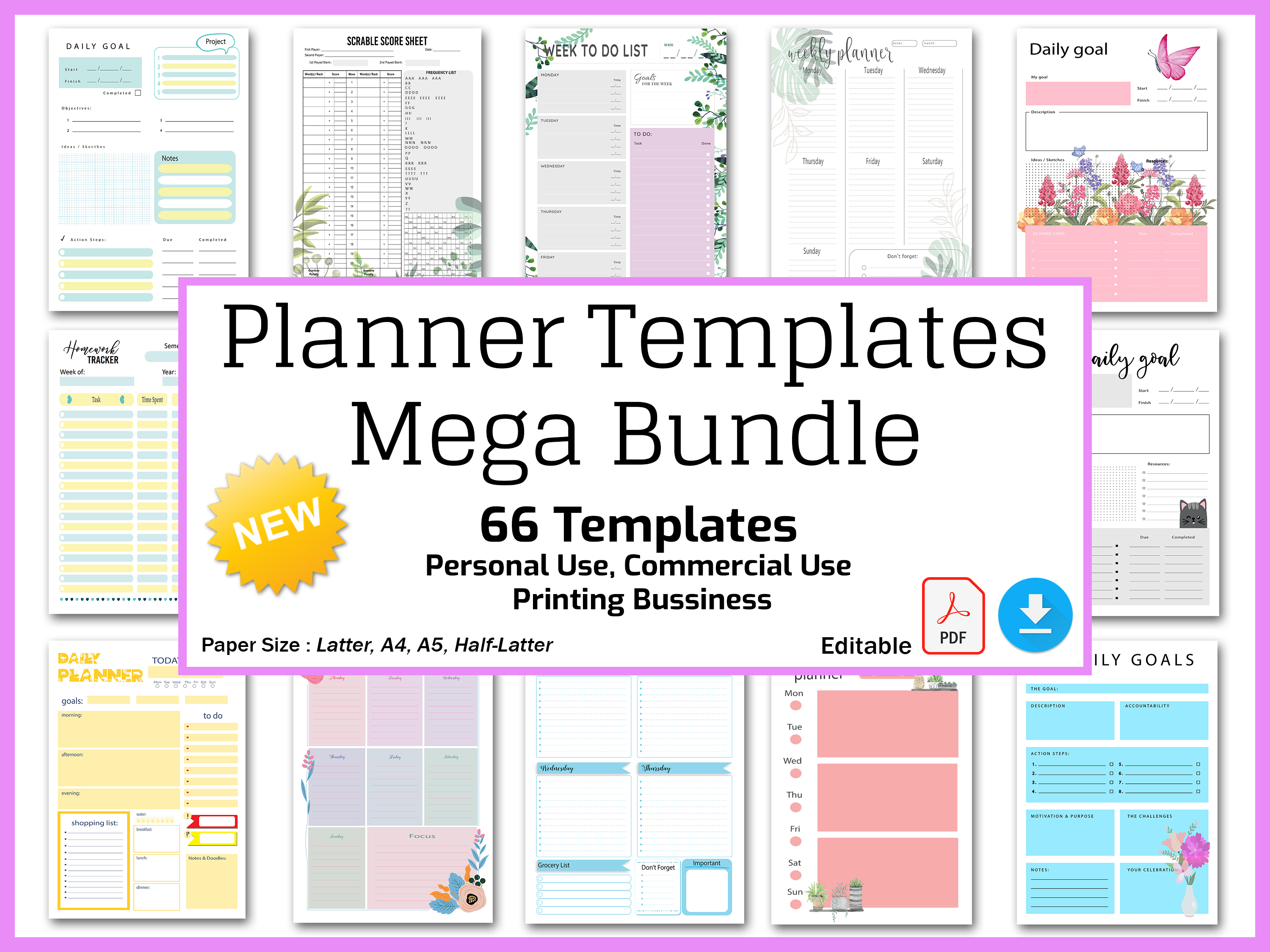 Planner Templates Bundle,  Editable Planner Pages Pack