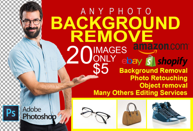 I will do photo background removal in photoshop,  photo editing