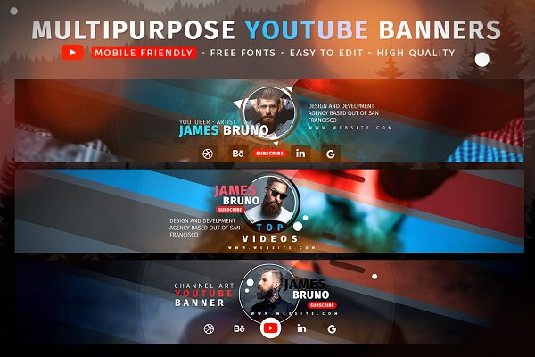 design your YouTube,  facebook,  instagram banner or cover