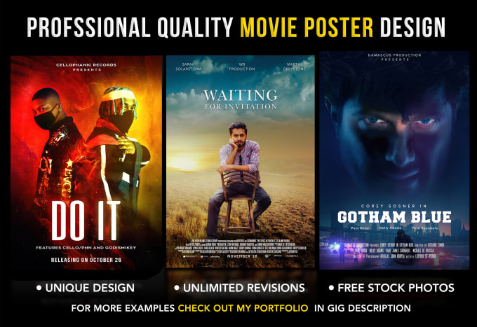 I will design a professional movie poster,  film poster,  poster