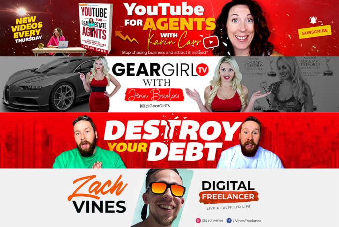 Design your awesome creative you tube banner or you tube thumbnail art