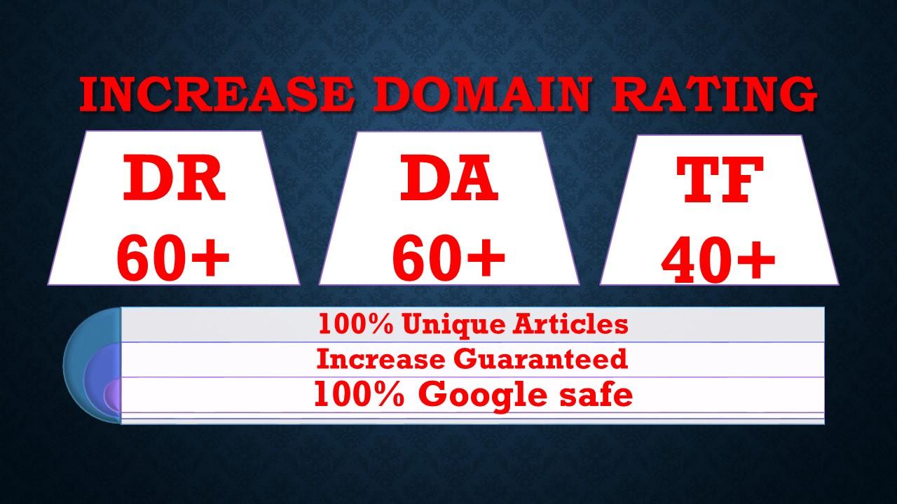 I will increase ahrefs domain rating DR moz domain authority da tf