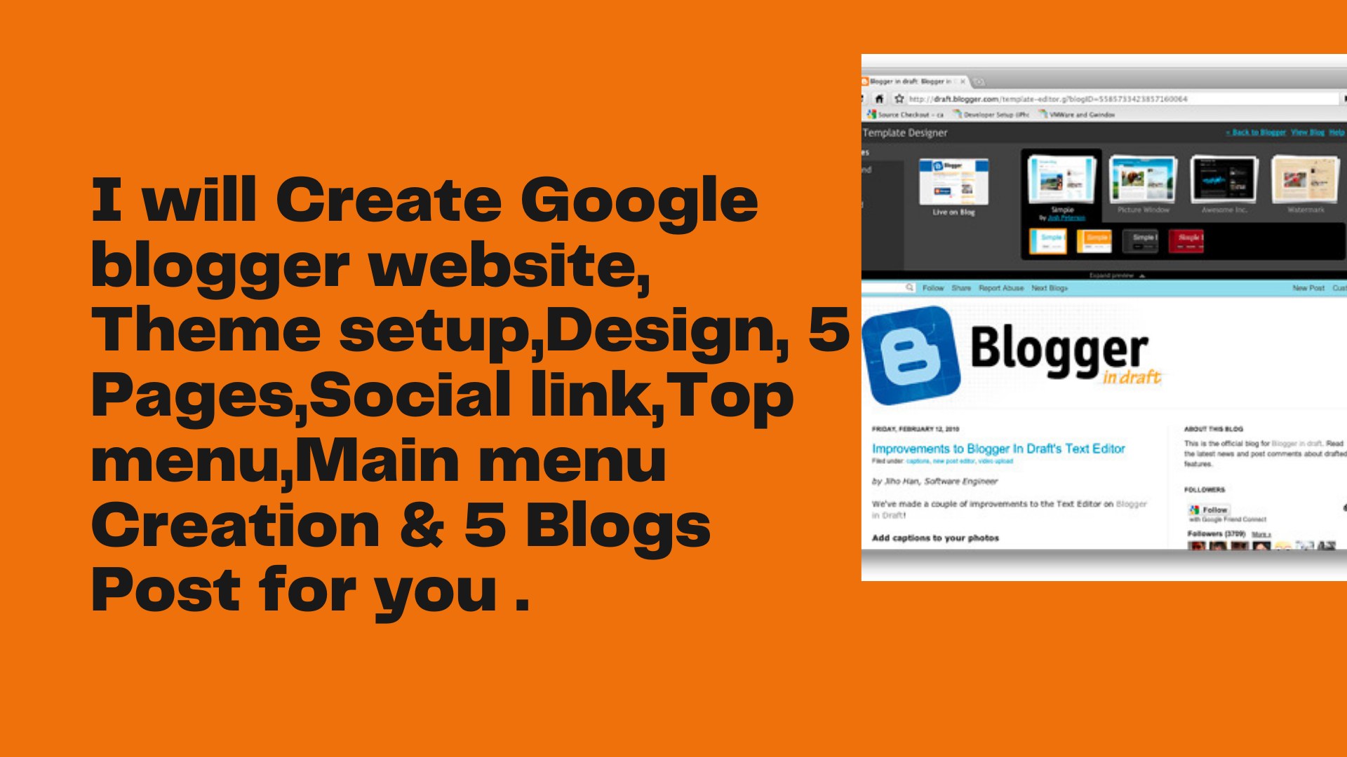 I will create a google blogger website,  theme setup,  design,  pages, social link,  manu creation & 5 bl