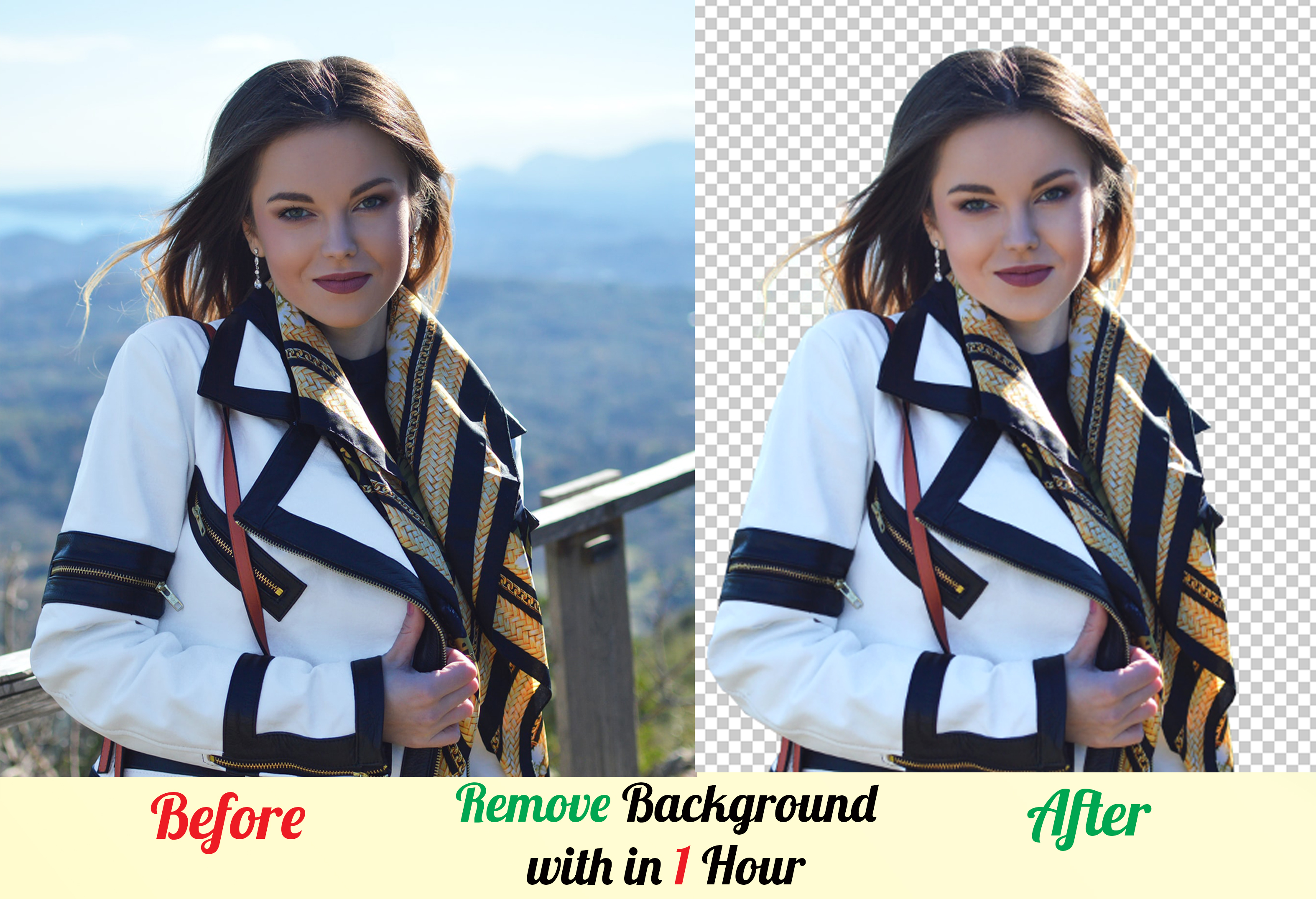 I can remove the background of your photo in just 1 hour