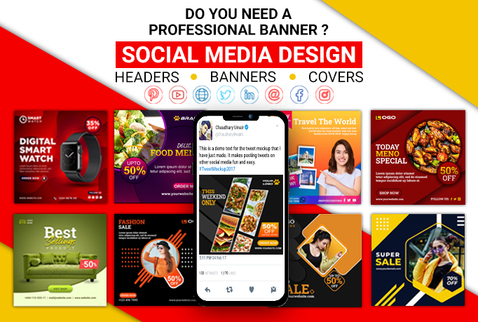 I will design any social media post,  banner,  cover,  header and ads with COPYRIGHTS for