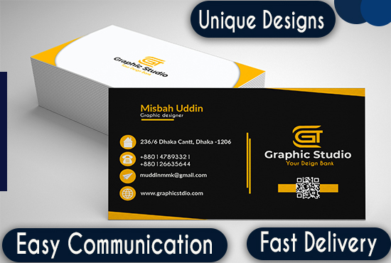 I will design minimal,  elegant,  unique business card with 2 concept.