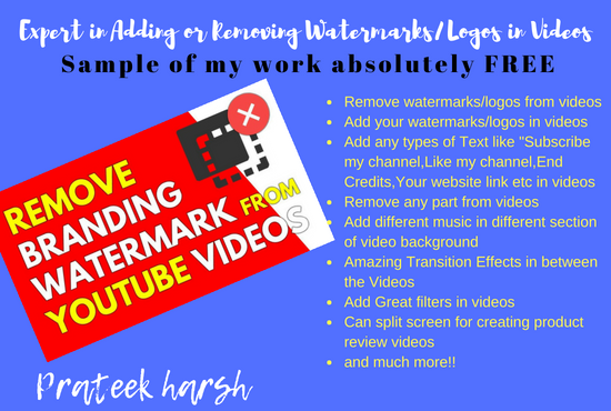 I am expert in removing or adding watermarks/logos and can do any types editing in videos