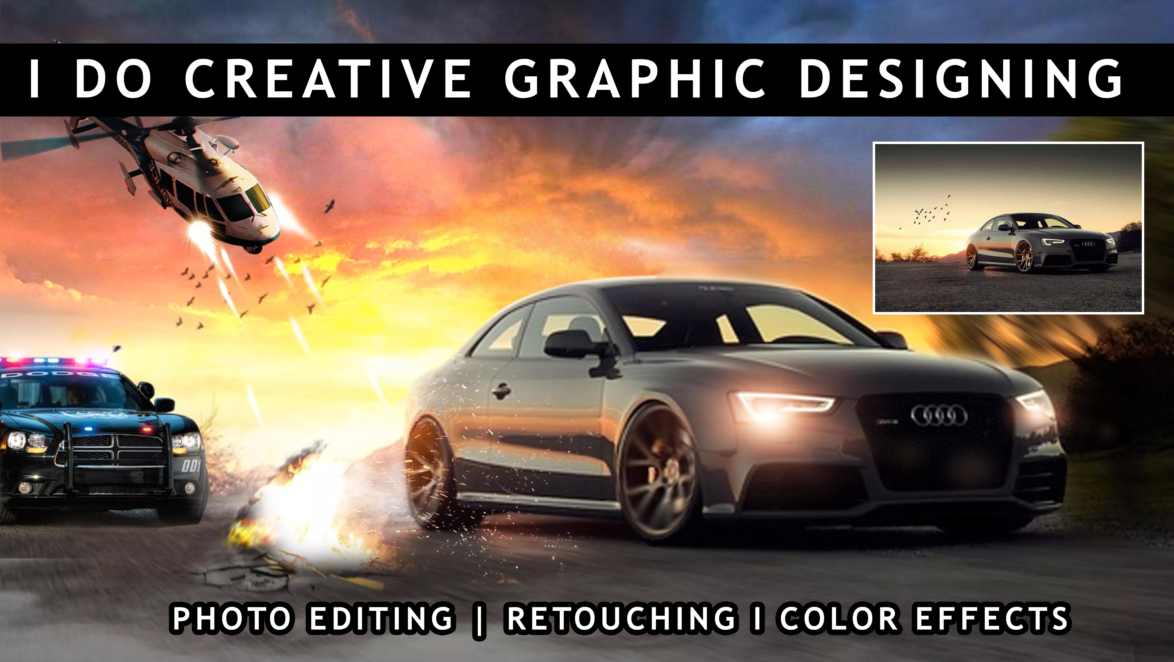 I'll do Creative Graphic Design and  Photo Editing