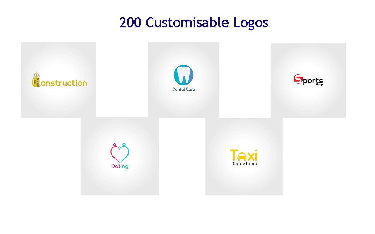 200 Customisable Logos with over a thousand bonuses