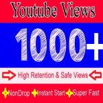 Non Drop 1000+ YouTube Vie ws Fast Delivery with 5 likes