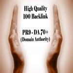 100 PR9 - DA 70+ backlink Domain Authority