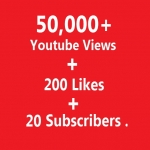 50,000 Youtube Views + 200 Likes + 20 Subscribers Never Drop