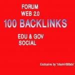 Manually 100 Forum,  Web 2.0,  Edu/Gov Profile & Social Backlinks from HIGH PR9-PR5 Domains