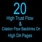 Buy 2 Get 1 Free 20 high trust flow and citation flow backlinks