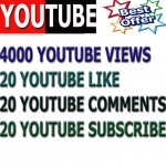 I provide 1000 youtube viwes+ 20 YouTube custom comment +20 like +20 Subscri. In your YouTube video increse video ratings