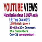 I provide 1000 monetizable you-tube viwes+ 10 YouTube custom com-ment +10 li-ke +10 Subs-cri. in your YouTube video increse video ratings