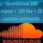 Soundcloud 100 repost + 100 like + 20 custom comments