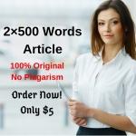Write 2 SEO articles 500 words original